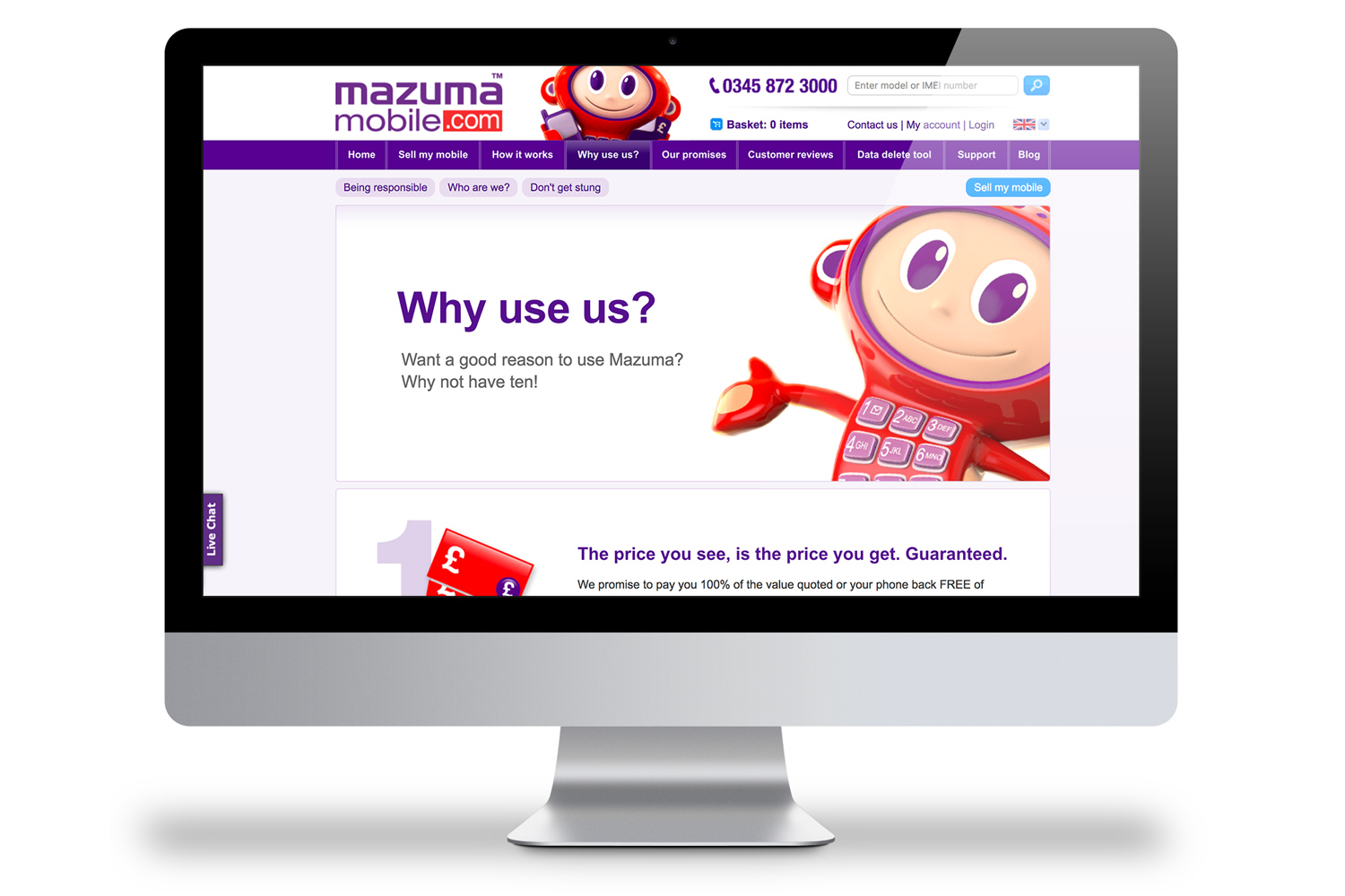Website Designer - Sticky. Client: Mazuma - Why choose use