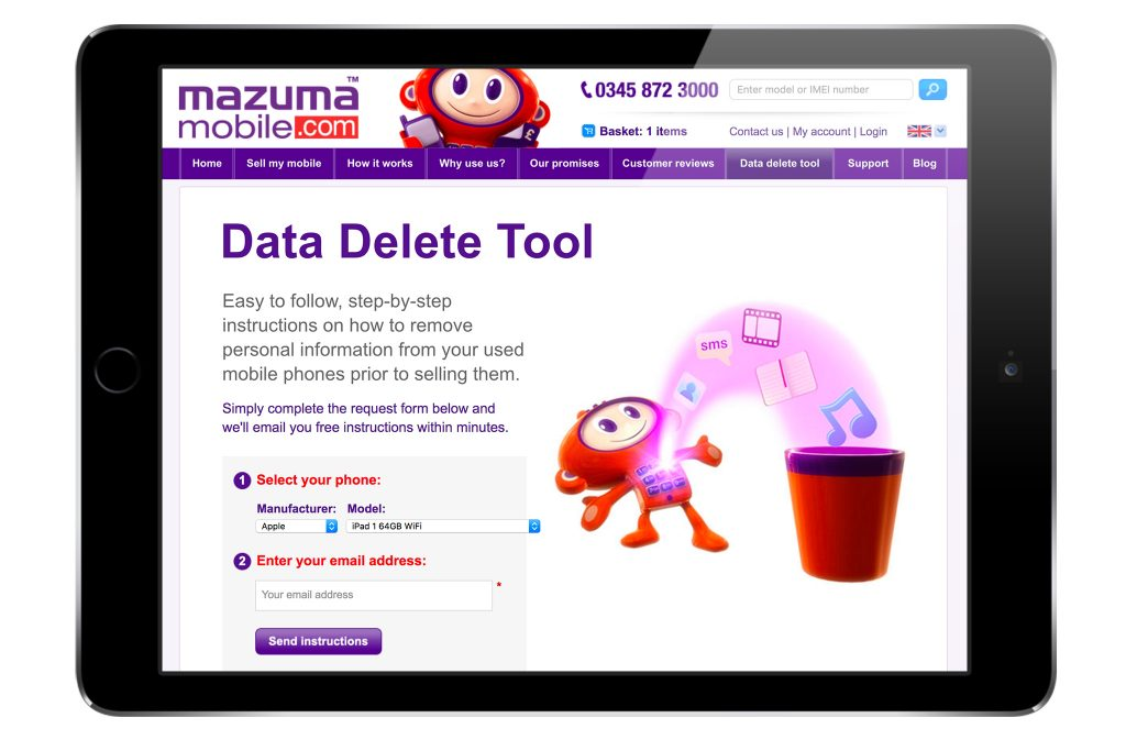 Maz Data Delete Tool designed by Sticky