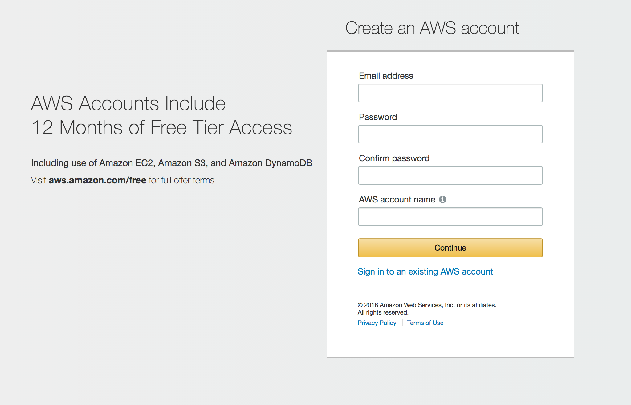 How to create a new Amazon AWS account plus 2 users to